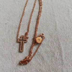 Michale kors rose gold crystal cross necklace